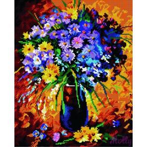 GL035 Букет в лучах заката (Л. Афремов) Алмазная мозаика стразами на подрамнике Molly