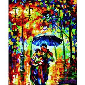 GL053 Прогулка под дождем (Леонид Афремов) Алмазная мозаика стразами на подрамнике Molly
