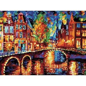 GL055 Огни в городе (Леонид Афремов) Алмазная мозаика стразами на подрамнике Molly