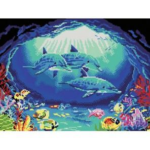 GL067 Дельфины в гроте Алмазная мозаика стразами на подрамнике Molly