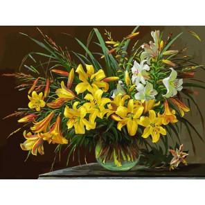 Золотая лилия Раскраска картина по номерам акриловыми красками на холсте Белоснежка