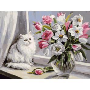 Весна на окошке Раскраска картина по номерам акриловыми красками на холсте Белоснежка