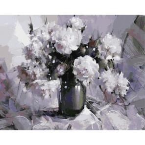 GX8205 Белые пионы (художник Рамиль Гаппасов) Раскраска картина по номерам акриловыми красками на холсте