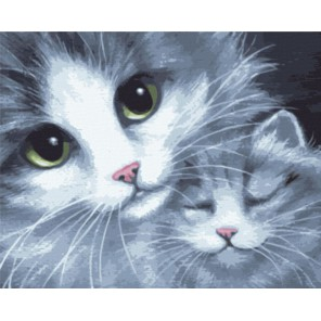 GX7931 Кошка с котёнком Раскраска картина по номерам акриловыми красками на холсте