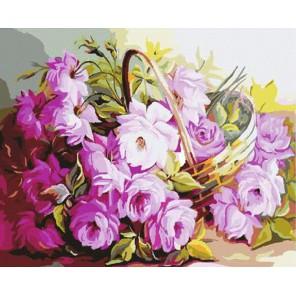 Корзина с цветами Раскраска картина по номерам акриловыми красками на холсте Molly