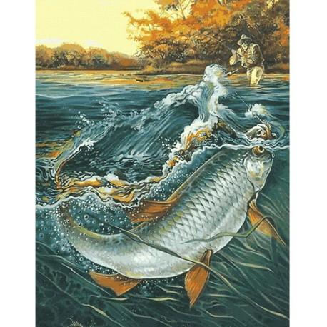 вышивка рыбная ловля  щука