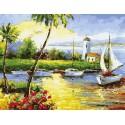 Солнечный берег Раскраска картина по номерам акриловыми красками на холсте Menglei