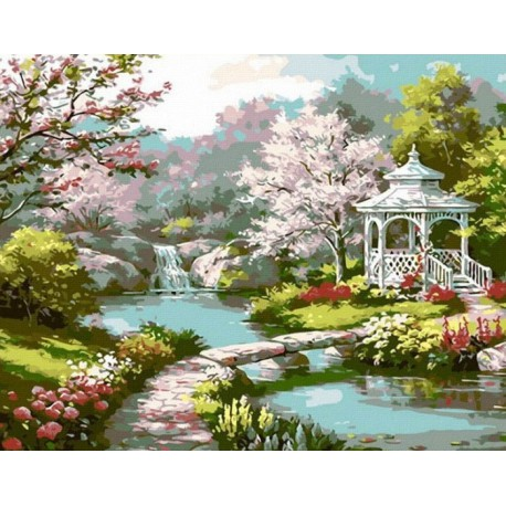 MG6016 Японский садик Раскраска картина по номерам акриловыми красками на холсте Menglei