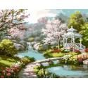 Японский садик Раскраска картина по номерам акриловыми красками на холсте Menglei