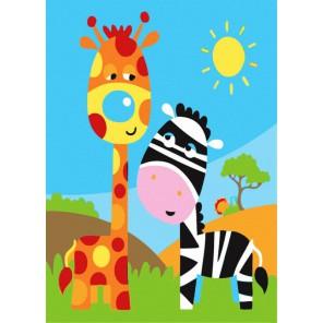 Жирафы Раскраска по номерам акриловыми красками Menglei
