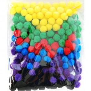 Яркий микс (6цветов) Помпоны декоративные 15мм