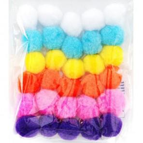 Светлый средний микс (6цветов) Помпоны декоративные 30мм
