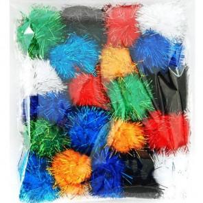 Яркий большой блеск (7цветов) Помпоны 40мм декоративные с блестящими нитями для поделок и детского творчества