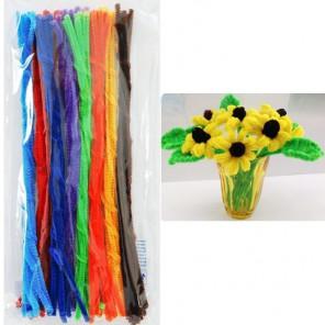 Весенний набор Синельная пушистая проволока (шенил) для поделок и детского творчества с примером поделки