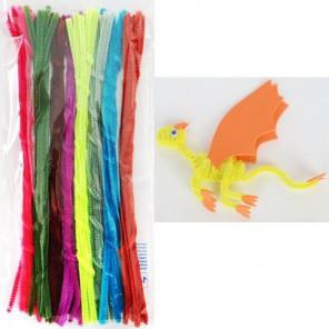 Утренний набор Синельная пушистая проволока (шенил) для поделок и детского творчества с примером поделки
