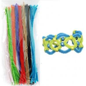 Основные цвета набор Синельная пушистая проволока (шенил) для поделок и детского творчества с примером поделки
