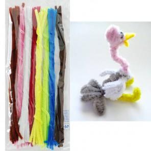 Нарядный набор Синельная пушистая проволока (шенил) для поделок и детского творчества с примером поделки