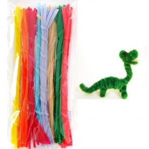 Цветочный набор Синельная пушистая проволока (шенил) для поделок и детского творчества с примером поделки