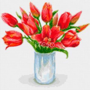 Красные тюльпаны Алмазная мозаика на твердой основе Iteso