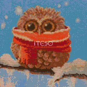 Совёнок зимой Алмазная мозаика на твердой основе Iteso