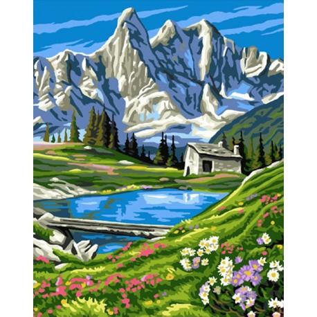 У подножия гор Раскраска картина по номерам акриловыми красками на холсте Molly