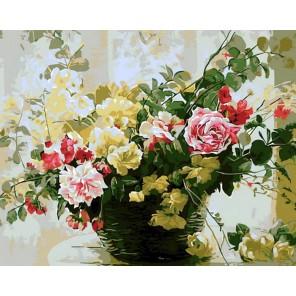 Букет в плетеной вазе Раскраска картина по номерам акриловыми красками на холсте Menglei