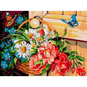 Корзинка с цветами Алмазная мозаика на твердой основе Iteso
