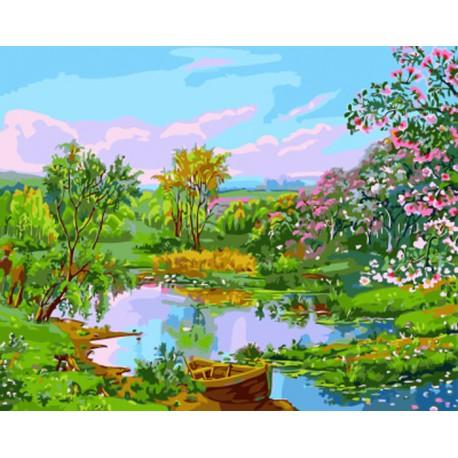 Речной пейзаж Раскраска картина по номерам акриловыми красками на холсте