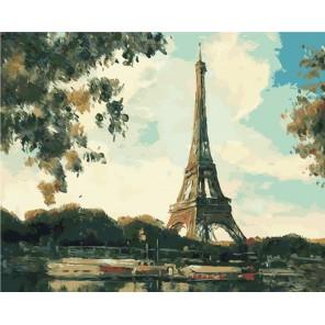 Эйфелева башня вечером Раскраска картина по номерам на холсте