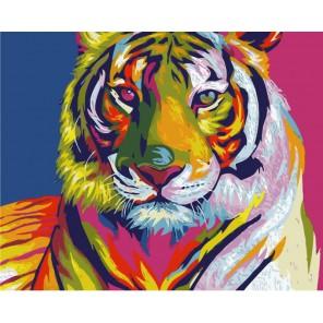 Радужный тигр Раскраска картина по номерам акриловыми красками на холсте