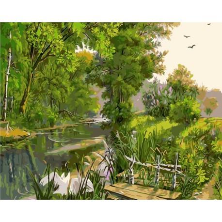 Рыбацкий мостик Раскраска картина по номерам акриловыми красками на холсте