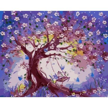 Качели в весеннем саду Раскраска картина по номерам акриловыми красками на холсте