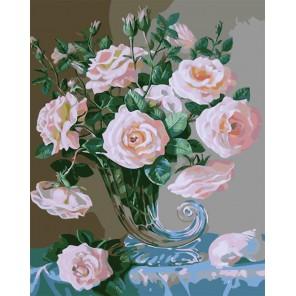 Нежные розы в хрустальной вазе Раскраска картина по номерам акриловыми красками на холсте