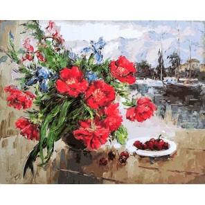 Букет и черешня Раскраска картина по номерам акриловыми красками на холсте Paintboy