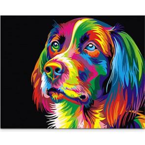 Радужный пес Раскраска картина по номерам акриловыми красками на холсте Paintboy