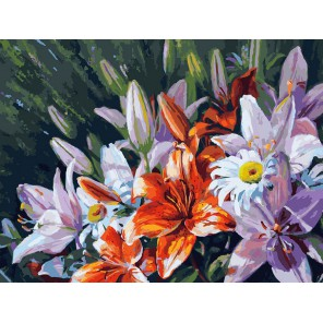 Лилии из сада Раскраска картина по номерам акриловыми красками на холсте Белоснежка