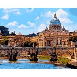 Мост Святого Ангела в Риме Раскраска картина по номерам акриловыми красками на холсте