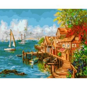 Рыбацкая деревенька Раскраска картина по номерам акриловыми красками на холсте