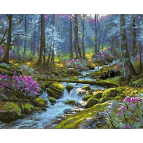 Лесной ручей Раскраска картина по номерам акриловыми красками на холсте
