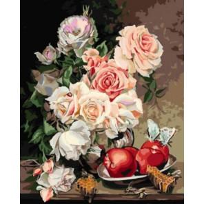 Розы с яблоками Раскраска картина по номерам акриловыми красками на холсте