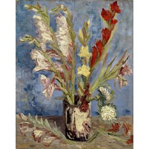 Ваза с гладиолусами (репродукция Ван Гога)  Раскраска картина по номерам на холсте Molly