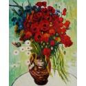 Цветущие маки и ромашки (репродукция Ван Гога)  Раскраска картина по номерам на холсте Molly