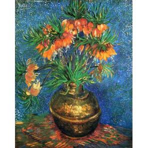 Рябчик в  медной вазе (репродукция Ван Гога)  Раскраска картина по номерам акриловыми красками на холсте Molly