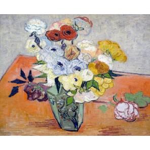 Японская ваза с розами и анемонами (репродукция Ван Гога)  Раскраска картина по номерам на холсте Molly