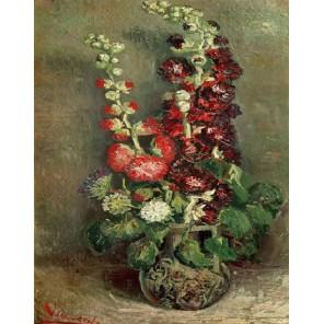 Ваза со штокрозами (репродукция Ван Гога)  Раскраска картина по номерам акриловыми красками на холсте Molly