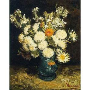 Цветы в голубой вазе (репродукция Ван Гога)  Раскраска картина по номерам акриловыми красками на холсте Molly