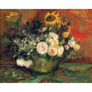 Натюрморт с розами и подсолнухами (репродукция Ван Гога)  Раскраска картина по номерам акриловыми красками на холсте Molly