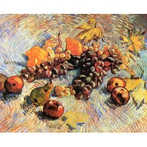 Натюрморт с яблоками и виноградом (репродукция Ван Гога)  Раскраска картина по номерам акриловыми красками на холсте Molly