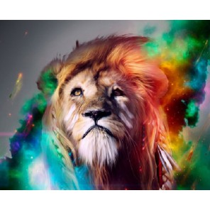 Радужный лев Раскраска картина по номерам акриловыми красками на холсте Molly