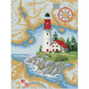 Домик у маяка Алмазная мозаика на подрамнике Цветной